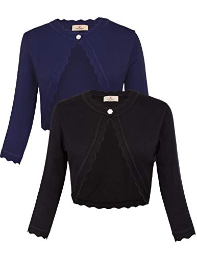 GRACE KARIN Women's Classic 3/4 Sleeve Open Front Knit Cropped Bolero Cardigan (Black+Navy, Small) ()