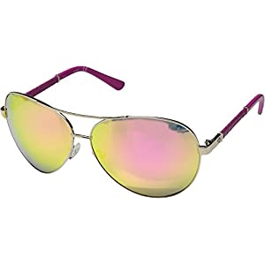 GUESS Factory Women's Faux-Leather Aviator Sunglasses