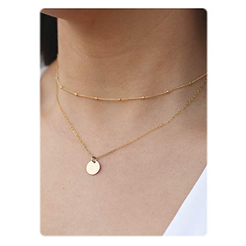 So Pretty Dainty Layered Gold Coin Choker Necklace Handmade Disc Pendant Layering Necklace Set for Women Girls
