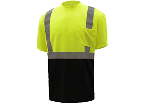 CJ Safety CJHVTS2003 ANSI Class 2 High Vis Short Sleeve Black Bottom Safety Shirt Moisture Wicking Mesh (Extra Large, Green) ()