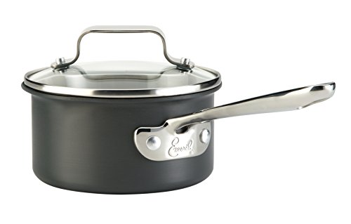 Emeril by All-Clad E8362164 Hard Anodized Dishwasher Safe Oven Safe Scratch Resistent Sauce Pan Cookware, 1-Quart, Black