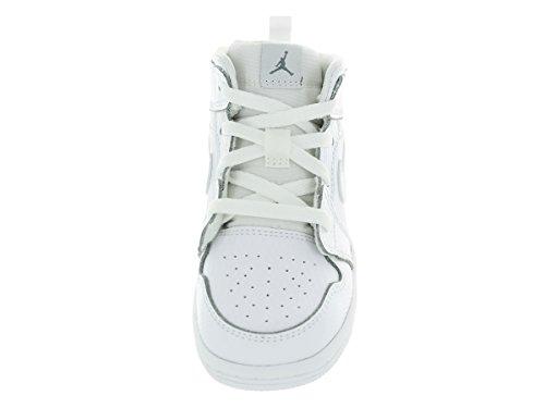 Nike infantil con forma de Boy s Air Jordan 1(Mid) Zapatillas de baloncesto White/Cool Grey/White