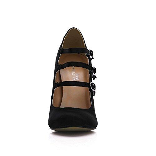 donna Tacchi alti nere da Stiletto 12CM Faux a 4U® Metal scarpe Scarpe Silk Buckle estate punta scarpe primavera Best vwqPHf