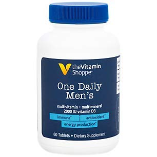 The Vitamin Shoppe One Daily Men's Multivitamin Energy Antioxidant Blend, Daily MultiMineral Supplement for Optimal Men's Health, Gluten Dairy Free (60 Tablets)