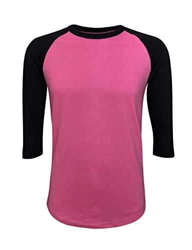 ILTEX Raglan T-Shirt 3/4 Sleeve Athletic Baseball Jersey Unisex (30+ Colors) (Pink/Black, X-Large)