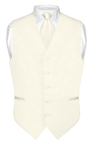 Men's Dress Vest & Necktie Solid Cream Color Neck Tie Set for Suit or Tux sz XL