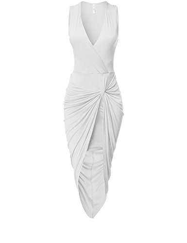 Sexy Asymmetric Stretchy Body Wrap Body Fitted Tie Dresses, 033 - White, Large