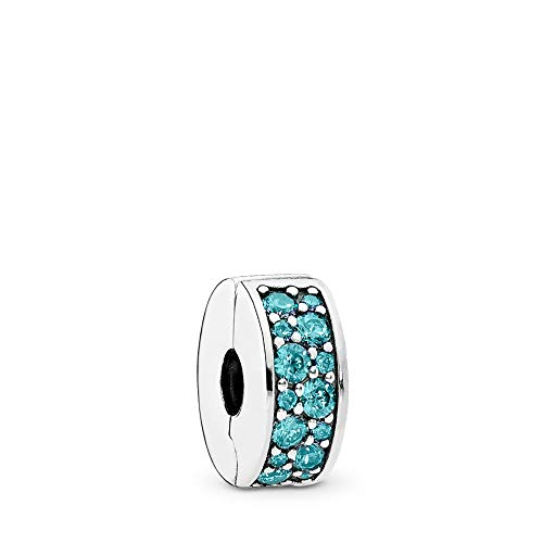 PANDORA Shining Elegance Clip Charm, Sterling Silver, Teal Cubic Zirconia, One - Silver Charm Teal