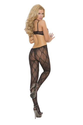 Elegant Moments Women's Plus-Size Crotchless Bow Tie Lace Bodystocking