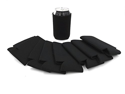 Boseen Can Coolers Party Insulators for Beer and Soda (Black, Pack of 8)