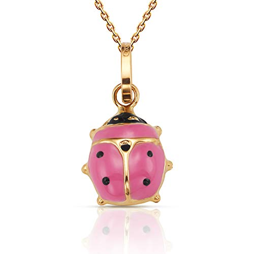 Ladybug Pendant Green (Jewel Connection Beautiful 14K Yellow Gold Ladybug Pendant Necklace 18