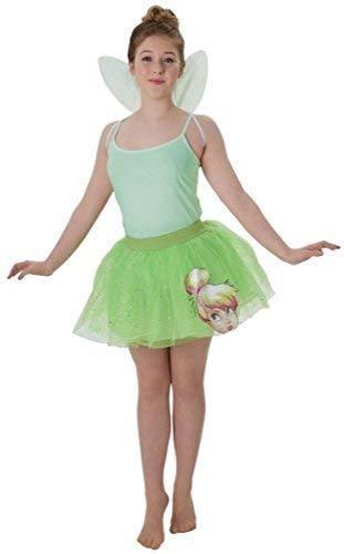 Ladies Teen Disney Tinkerbell Fairy Tutu & Wings Fancy Dress Costume Outfit Kit (UK 8-10) Green -