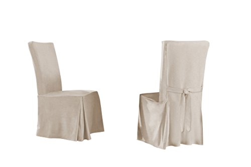 (Serta Relaxed Fit Smooth Dining Chair, Long Skirt (6 Pack), Ivory, 6)
