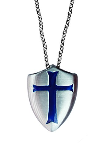exoticdream Knight Templar Shield Crusader Cross Medallion Medieval Amulet Defense Protection Thick Pendant Necklace (Blue + Stainless Steel, 24) -