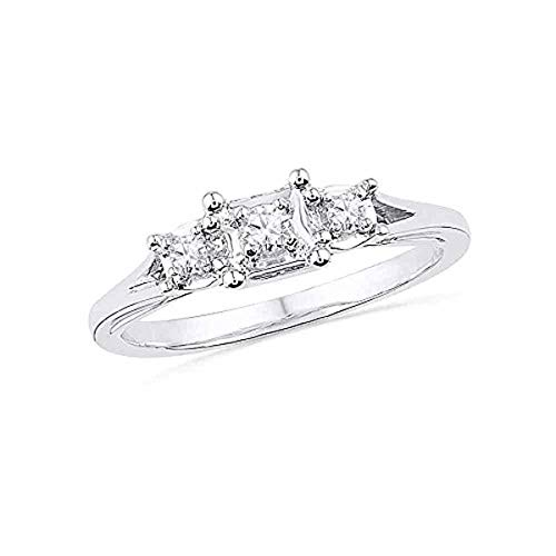 Roy Rose Jewelry 10K White Gold Womens Round Diamond 3-stone Bridal Wedding Engagement Ring 1/10-Carat tw