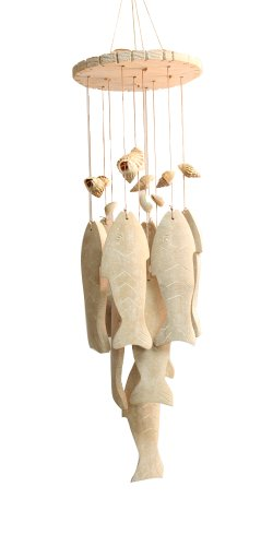 Jade Garden 389810 White Fish Wind Chime with Shells For Sale