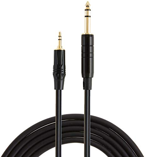 CableCreation 3ft 3.5mm 1/8 Male Stereo to 6.35mm 1/4 Male TRS Stereo Audio Cable Gold Plated Compatible with iPod, iPhone, Laptop, Home Theater, Amplifiers, Guitar and More,1 Meter/Black