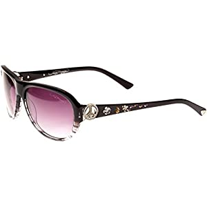 Ed Hardy Peace Sunglasses Black Grey Purple Gradient 58 15 128