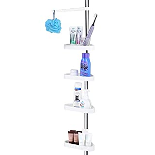 PrettyHome Constant Tension Corner Shower Pole Caddy for Bathroom, Rustproof, Strong and Sturdy, White, 56-114 Inches, Polished