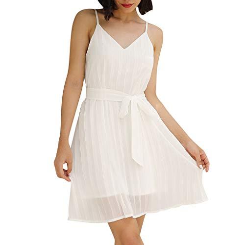 Mikilon Women's Summer Chiffon Spaghetti Strap Sundress Sleeveless Beach Mini Dress with Belt - Belt Belted Paisley