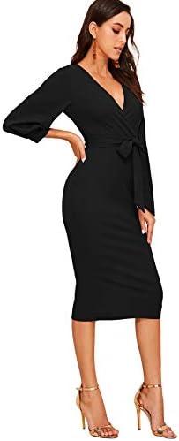 Verdusa Womens Plunging V Neck Bishop Sleeve Bodycon Belted Dress