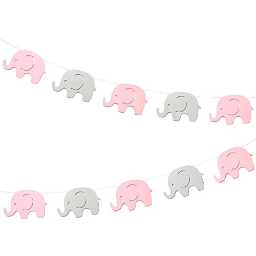 Pink Elephant Garland Baby Shower Decorations Baby Girl Elephant Banner Decorations Party Supplies Baby Nursery Decorations Birthday Party Decorations 10 Feet 17pcs 4''Inch Elephant (Pink+Gray)