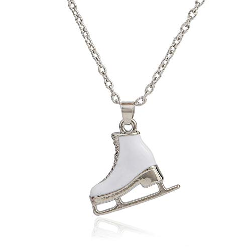 Ice Skate Sports Pendant White Enamel Jewelry Womens Necklaces ()