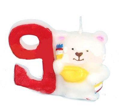 Los números de la vela de 9 oso de peluche con forma de vela ...
