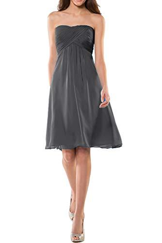 Blau Kurz Grau Brautjungfernkleider Einfach Mini Chiffon Abendkleider Marie Cocktailkleider La Traegerlos Braut OqnwHwAp