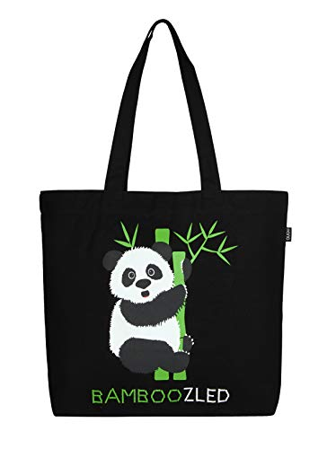 Tote Essentials 100 Printed Cotton Bamboozled Bag Large Reusable Panda Eono black canvas Y6SCqqw