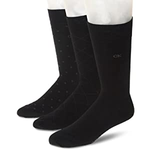 Calvin Klein Men's 3 Pack Fashion Geometric Socks, Black, Sock Size: 10-13/Shoe Size:9-11