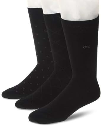 Calvin Klein Men's 3 Pack Fashion Geometric Socks, Black, Sock Size: 10-13/Shoe Size:9-11