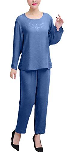 Girocollo Pantaloni Pezzi Homewear Chic Lungo Lunga Due Elegante Taglie Traspirante Pigiami Comfort Forti Solido Blu Larghi Unique Pigiama Manica Donna Tops qYvU1