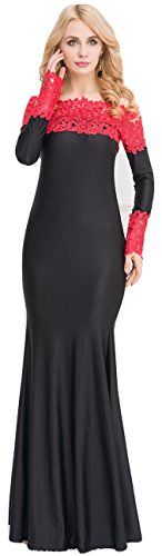 Élégant pour femme Long Rouge et Noir Off épaule Longueur complète pour robe de soirée de soirée Party Dance Club Wear Taille L UK 12EU 40