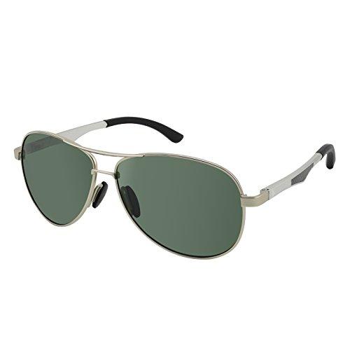 Spring Temporal (Dreamviva Anti-Glare Polarized UV400 Aviator Al-Mg Frame Spring Hinge Men Sunglasses Silver Frame Green Lens)