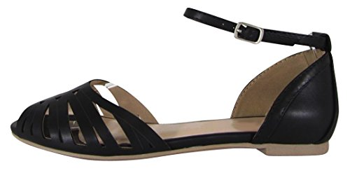 Cambridge Utvalda Womens Peep Toe Bur Utklipp Bucklig Ankelbandet Platt Sandal Svart Pu