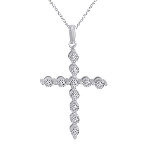 Trillion Jewels 0.11 CT (Clarity I1-I2/Color I-J) Natural Diamond 14K White Gold Fn Cross Pendant 18