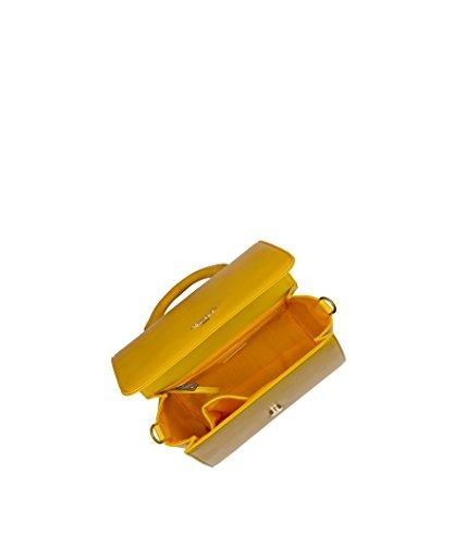 liscia borsa SARA cartella Mustard POMIKAKI ecopelle tracolla E17 SA06 borsa a mano BqwvdFw