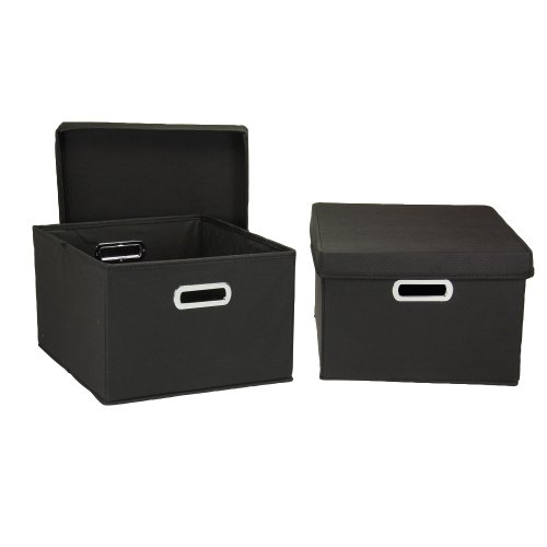 Household Essentials Fabric Storage Boxes with Lids and Handles, Black (Lids Storage Fancy With Boxes)