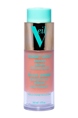 Veil Cosmetics Sunset Light 3-in-1 Primer Serum Mixing Base | Anti-Aging | Oil Free| Paraben Free | Vegan & Cruelty Free