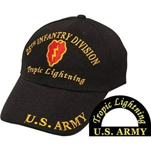 US Army 25th Infantry Division Tropic Lightning Black Embroidered Cap Hat EE0101 for Home, Official Party, All Weather Indoors Outdoors