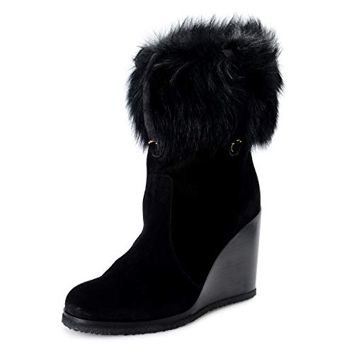 Salvatore Ferragamo Women's Sondrio Suede Fur Wedge Boots Shoes Sz US 8C IT 38C Black ()