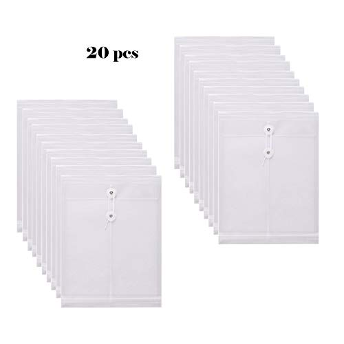 (SMARTOFFICE Clear String Closures Poly Envelopes w/Top Opening Folder Pocket Pack of 20 Bottom with Expanding Gussett (Clear))
