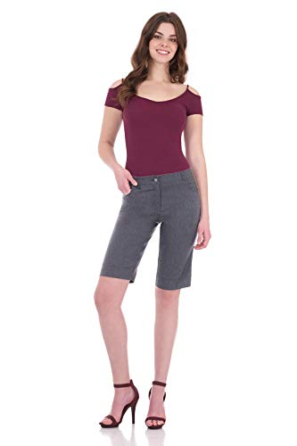 - Rekucci Women's Iconic Comfort Stretch 5 Pocket Bermuda Short w/Zipper Closure (10,Charcoal)