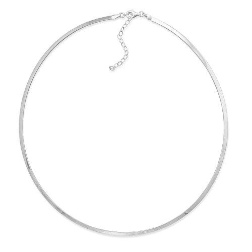 Sterling Silver Flat Collar Necklace 2.5mm Adjustable - Made in Italy (Necklace Collar Silver Sterling)