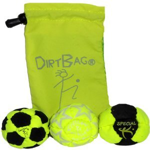 Dirtbag Medley Footbag Hacky Sack 3 Pack - Fluorescent Yellow/Black by Dirtbag