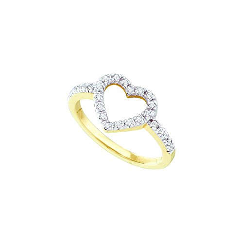 10kt Yellow Gold Womens Round Diamond Simple Heart Outline Ring 1/5 Cttw by JawaFashion