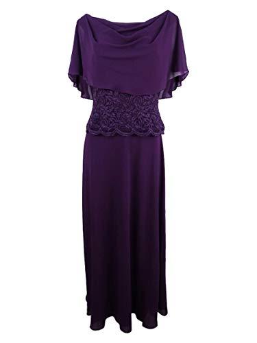 - Jessica Howard Womens Cape Sleeves Full Length Evening Dress Purple 12