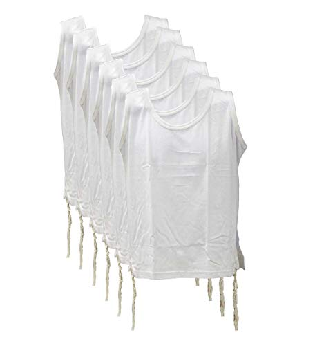 Zion Judaica 100% Cotton Comfortable Quality T-Shirt Tzitzis Garment Certified Kosher Imported from Israel in 18 (L Child) 6 Pack White