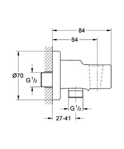 Grohe 28628000 Polished Chrome Parts Relexa Wall Union